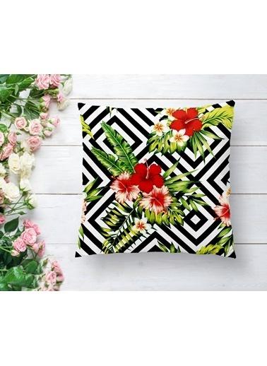 Real Homes Geometrik Zeminde Çiçek Desenli Yastık Kırlent Kılıfı Renkli